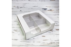 Коробка для десертов 200*200*60 мм с окном белая