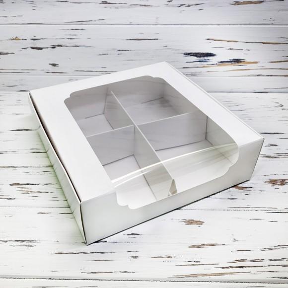 Коробка для десертов 200*200*60 мм с окном белая.Купить в Харькове,Киеве по лучшей цене в интернет- магазине Тортодел