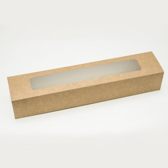 Коробка для Макаронс Крафт с окном 303х60х50 мм.Купить в Харькове,Киеве по лучшей цене в интернет- магазине Тортодел