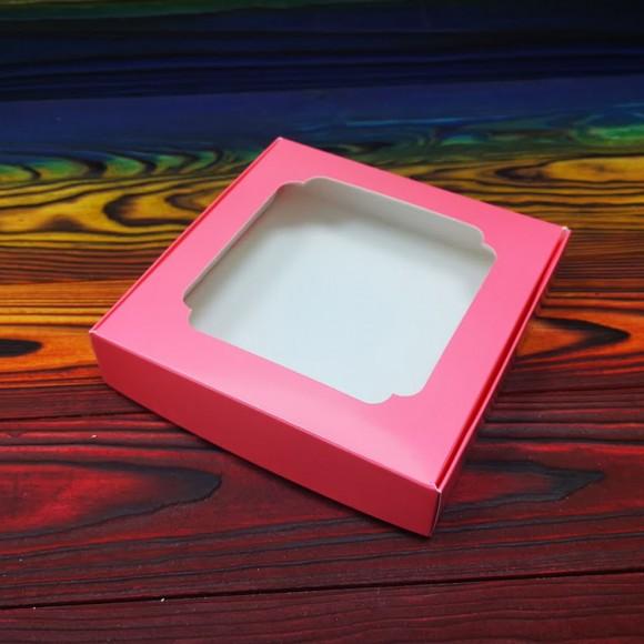 Коробка для сладостей с окошком 150х150х30 мм коралловая.Купить в Харькове,Киеве по лучшей цене в интернет магазине Тортодел