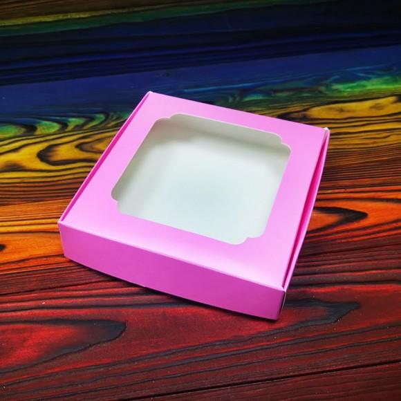 Коробка для сладостей с окошком 150х150х30 мм пыльная роза.Купить в Харькове,Киеве по лучшей цене в интернет магазине Тортодел