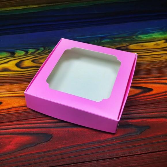 Коробка для сладостей с окошком 150х150х30 мм Розовая.Купить в Харькове,Киеве по лучшей цене в интернет магазине Тортодел