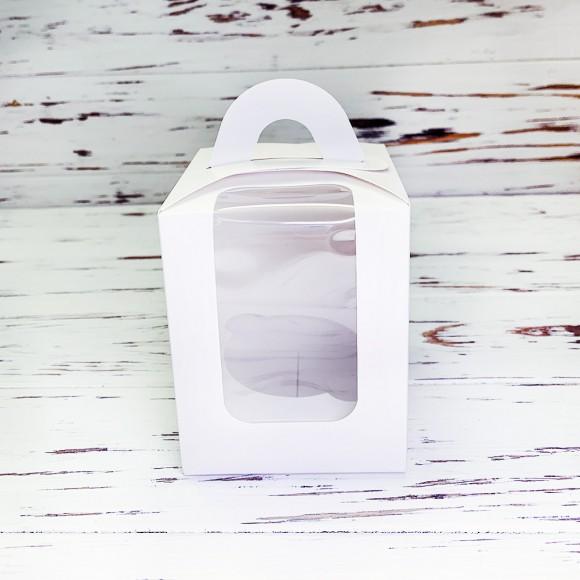 Коробка на 1 кекс 82х82х100 с ручкой белая.Купить в Харькове,Киеве по лучшей цене в интернет- магазине Тортодел
