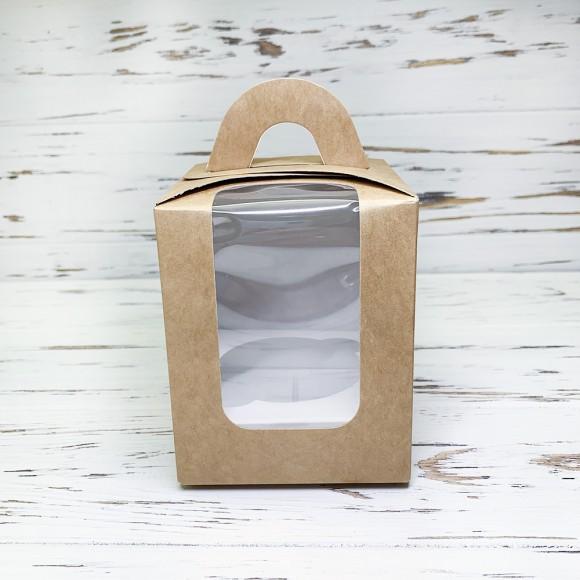 Коробка на 1 кекс 82х82х100 с ручкой крафт.Купить в Харькове,Киеве по лучшей цене в интернет- магазине Тортодел