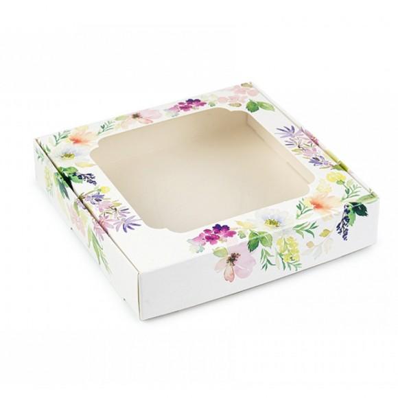 Коробка для сладостей с окошком 150х150х30 мм Цветы.Купить в Харькове,Киеве по лучшей цене в интернет магазине Тортодел