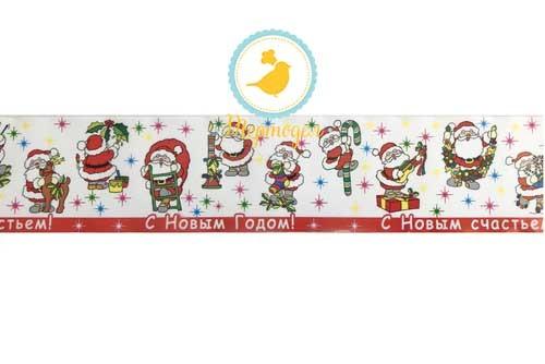 Бордюрная лента с рисунком, ширина 4,5 см, длина 1м (Дед Мороз красная).Купить в Киеве,Харькове и Украине по лучшей цене в интернет магазине Тортодел