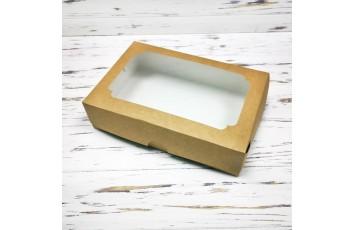 Коробка для эклеров 230*150*60 мм с окном крафт №2