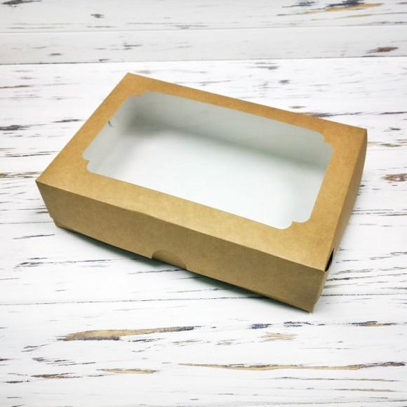 Коробка для эклеров 230*150*60 мм с окном крафт №2.Купить в Харькове,Киеве по лучшей цене в интернет- магазине Тортодел