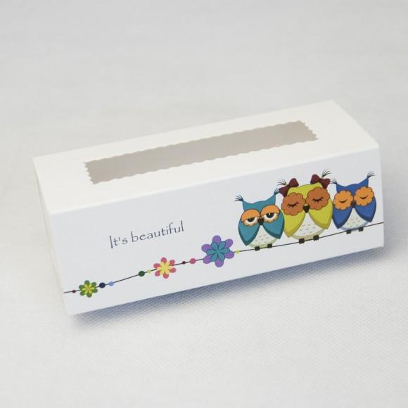 Коробка для Макаронс Совы 141х59х49 мм.Купить в Харькове,Киеве по лучшей цене в интернет- магазине Тортодел
