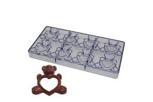 Поликарбонатная форма для конфет Мишка с сердцем 8 шт.