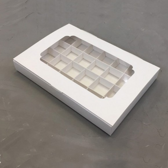 Коробка для конфет 270х185х30 на 24 шт белая мелованная с окном.Купить в Харькове,Киеве по лучшей цене в интернет магазине Тортодел