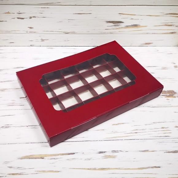 Коробка для конфет 270х185х30 на 24 шт бордовая с окном.Купить в Харькове,Киеве по лучшей цене в интернет магазине Тортодел