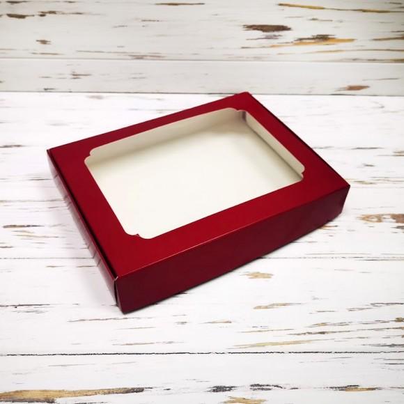 Коробка для пряников с окошком 200х150х30 мм Бордовая.Купить в Харькове,Киеве по лучшей цене в интернет магазине Тортодел
