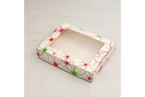 Коробка для печенья,пряников с окошком 192х148х40 мм Яркие цветы