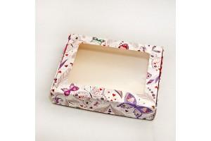 Коробка для печенья,пряников с окошком 192х148х40 мм Бабочки