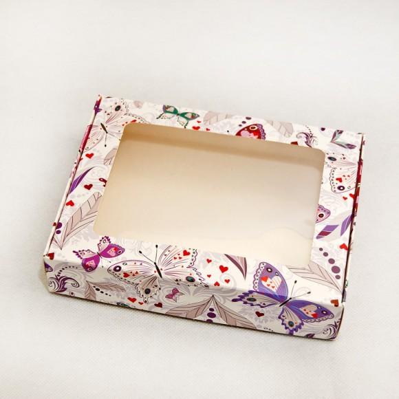 Коробка для печенья,пряников с окошком 192х148х40 мм Бабочки.Купить в Харькове,Киеве по лучшей цене в интернет- магазине Тортодел