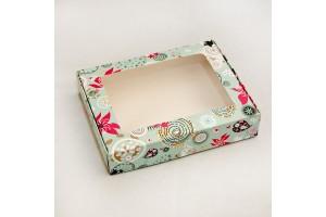 Коробка для печенья,пряников с окошком 192х148х40 мм Абстракция голубая