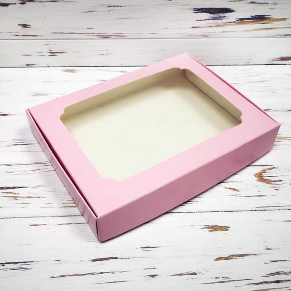 Коробка для пряников с окошком 200х150х30 мм Нежно-розовая.Купить в Харькове,Киеве по лучшей цене в интернет- магазине Тортодел