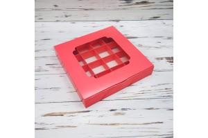 Коробка для конфет 185х185х30 на 16 штук с окном кораловая