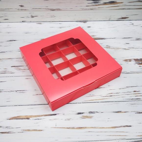 Коробка для конфет 185х185х30 на 16 штук с окном кораловая.Купить в Харькове,Киеве по лучшей цене в интернет- магазине Тортодел