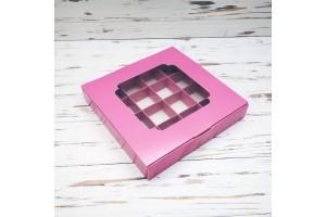 Коробка для конфет 185х185х30 на 16 штук с окном пыльная роза