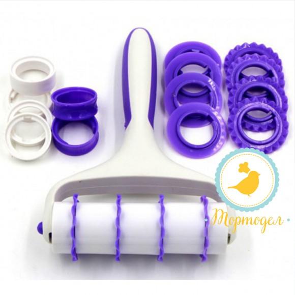 Валик для нарезки полос бело-фиолетовый.Купить в Киеве,Харькове и Украине по лучшей цене в интернет магазине Тортодел