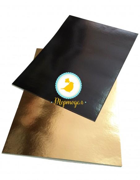 Подложка прямоугольная черная/золото 30 х 40 см.Купить в Харькове,Киеве по лучшей цене в интернет магазине Тортодел