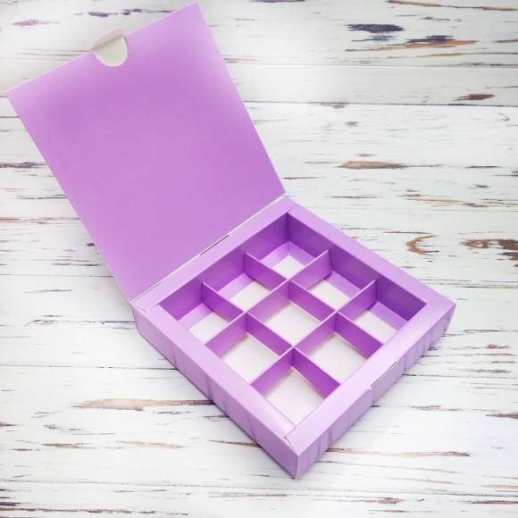 Коробка для конфет 153х153х30 на 9 штук Сиреневая.Купить в Харькове,Киеве по лучшей цене в интернет- магазине Тортодел