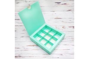 Коробка для конфет 153х153х30 на 9 штук Тиффани