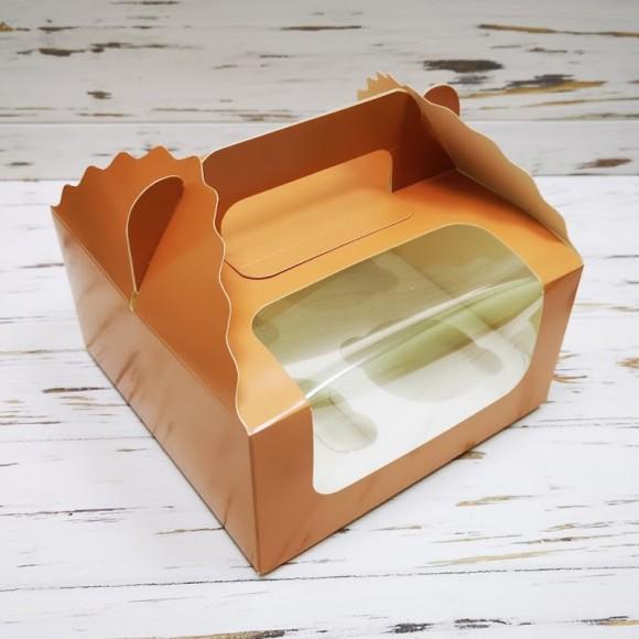 Коробка на 4 кекса 170х170х85 с ручкой Кофе.Купить в Харькове,Киеве по лучшей цене в интернет- магазине Тортодел