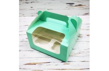 Коробка на 4 кекса 170х170х85 с ручкой Тиффани