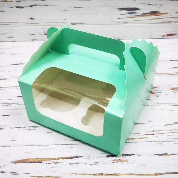 Коробка на 4 кекса 170х170х85 с ручкой Тиффани.Купить в Харькове,Киеве по лучшей цене в интернет- магазине Тортодел