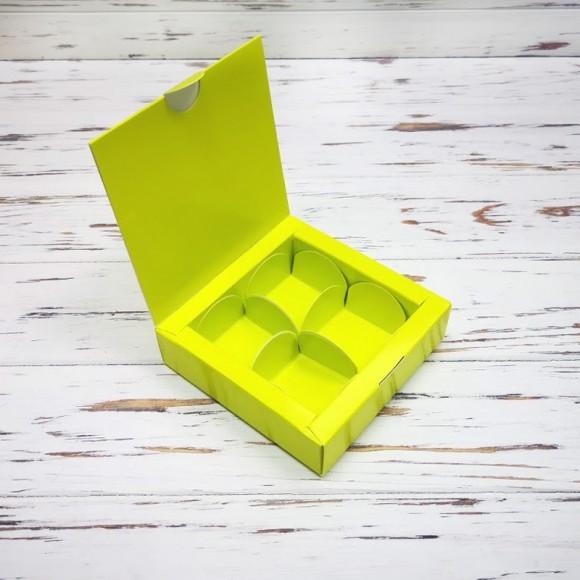 Коробка для конфет 112х112х30 на 4 штуки салатовая.Купить в Харькове,Киеве по лучшей цене в интернет- магазине Тортодел