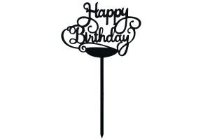 Топпер Happy Birthday черный 12,5х9 см