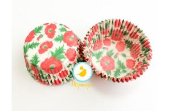 """Форма для кексов """"Маки"""" 50х30 50шт.(красно-зеленые)"""