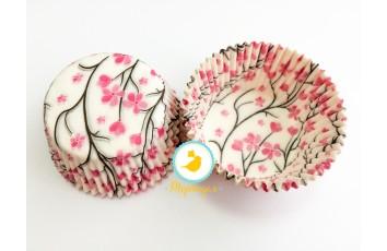 """Форма для кексов """"Сакура"""" 50х30 50шт.(розово-коричневая)"""