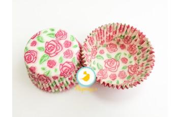 """Форма для кексов """"Троянда"""" 50х30 50шт.(розово-зеленая)"""