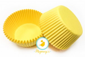 "Форма для кексов ""Желтая"" 50х30 50шт.(однотонная)"