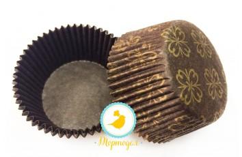 Форма для кексов коричневая Орнамент класический 50х30 50шт.(золото)