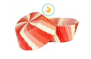 Форма для кексов Вертушка 50х30 50шт (красная)