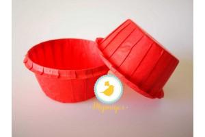 Форма бумажная для кексов с бортиком красная, 55*35 мм 25 шт