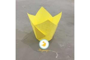 """Форма бумажная для кексов """"Тюльпан"""" желтый, 50*80 мм 25 шт"""