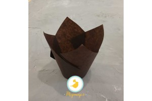 """Форма бумажная для кексов """"Тюльпан"""" коричневый, 50*80 мм 25 шт"""