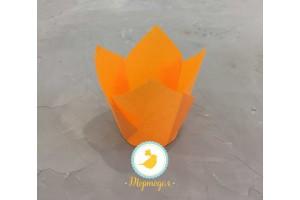 """Форма бумажная для кексов """"Тюльпан"""" оранжевый, 50*80 мм 25 шт"""