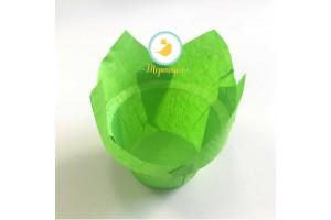 """Форма бумажная для кексов """"Тюльпан с бортиком"""" зеленый, 50*85 мм 25 шт"""