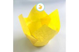 """Форма бумажная для кексов """"Тюльпан с бортиком"""" желтый, 50*85 мм 25 шт"""