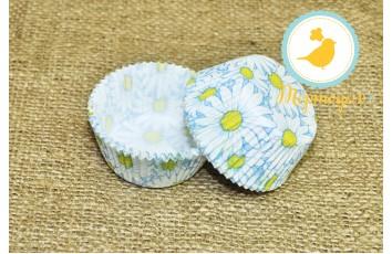 Форма для кексов Ромашки №2; 50 х 30 см, 50 шт ( желто-синие)