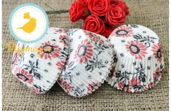 Форма для кексов Вышиванка №1 50 х 30 см, 50 шт (красно-черная)
