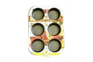 Форма для выпечки на 6 кексов тефлон 6x5x2,5