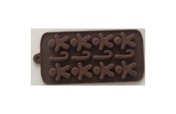 Форма силиконовая для конфет, льда НГ №6 ( пряничный человечек) на планшетке